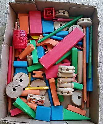 Wooden Tinker Toys Parts Lot 12 SPOOLS ~ LARGE LOT OF Tinkertoy Pieces