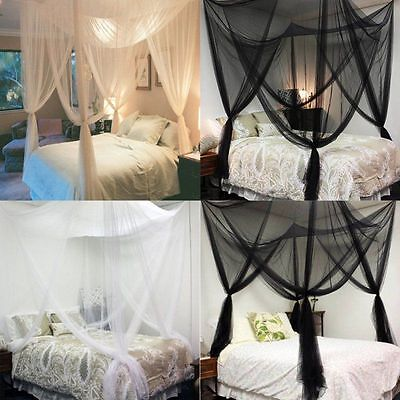 Four Corner Post Bed Canopy-Mosquito Net Twin Queen King Anto Mosquito Netting