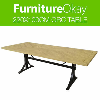 Outdoor 220x100cm New GRC Timber Stone Rectangle Dining Furniture Stone Table