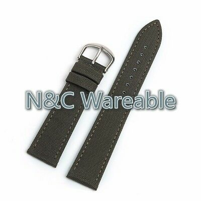 22mm Army Canvas Genuine Leather Watchband Two Parts WristStrap Bands