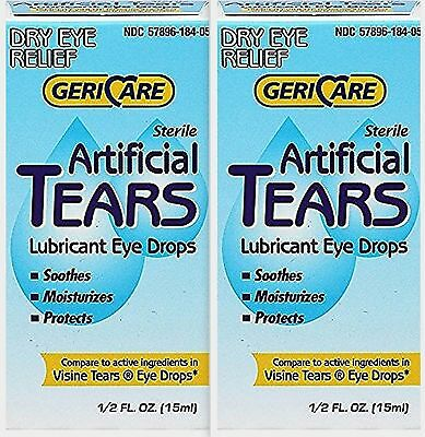 GeriCare Artificial Tears Solution  DRY EYE 15 ml Humans or Animals x 2 boxes