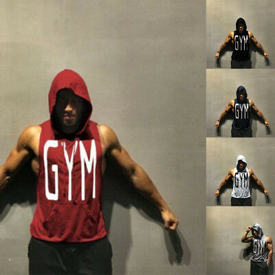 New Fitness Muscle Hoodies Cotton Sleeveless Stringer Bodybuilding GYM T-Shirt