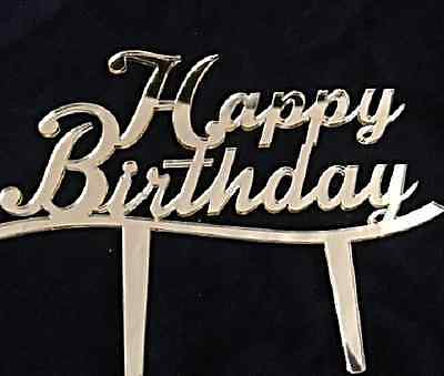 Happy Birthday Cake Topper -Mirror Silver & Mirror Gold - Acrylic