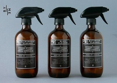 3x 500ml amber glass spray bottles & designer decals with NEW SUPERIOR triggers