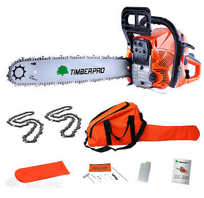 "TIMBERPRO 62cc Petrol Chainsaw, 20"" Bar & 2x Saw Chain. Alloy & Assisted Start"