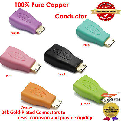 6-Pack HDMI Mini Connector Male to HDMI Connector Female Audio Video Adapter