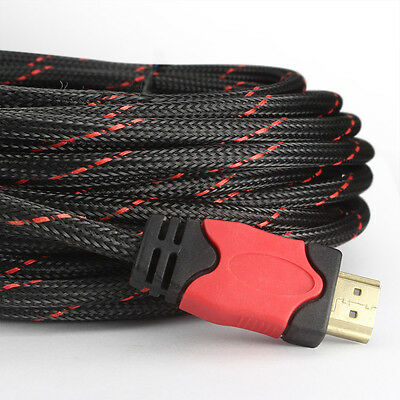 Premium Braided HDMI Cable 25FT w/Ferrite Cores Supports Ethernet 3D Audio Video