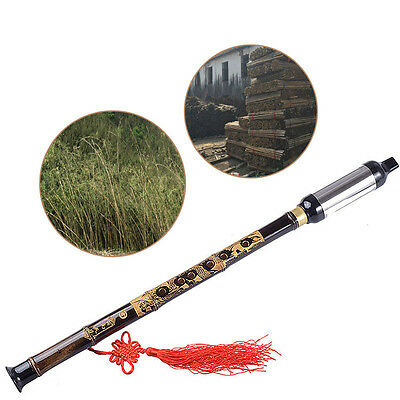 Chinese Ethnic Instrument Black Bamboo Detachable Bawu Pipe BaWu Flute Tune G