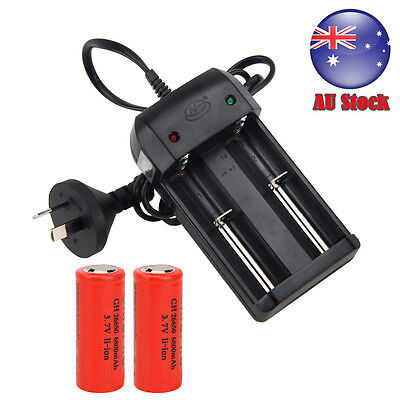 2x26650 6800mAh Li-ion Rechargeable Battery Wall Charger AU PLUG for flashlight