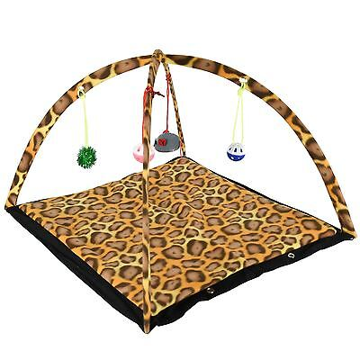 Cat Kitten Pet Activity Play Tent Mat Bed Foldable Ball Bells Mouse Toy Home