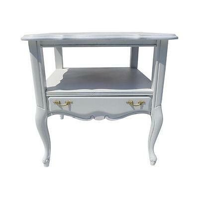 Vintage French Style Side Table Painted in Gloss White