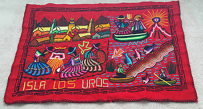"""Isla Los Uros Red Wool Tapestry Wall Hanging Crewel Embroidered  Peru 27"""" x 37"""""""