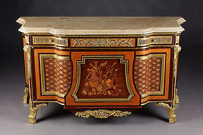 D-Sam-210 Louis XVI Marquetry Chest of drawers after Model Jean Henri Riesener