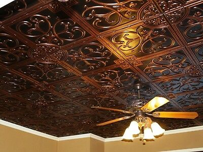 Tin Look Ceiling Tile in Antique Copper. Drop In Glue Up.50 tiles #204~200 sq.ft