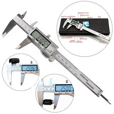 "6"" 150mm Stainless Steel Digital Vernier Electronic Caliper Micrometer Guage LCD"