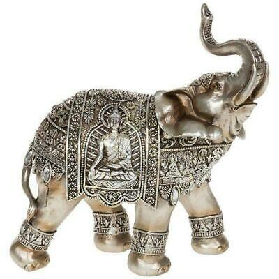Large ELEPHANT Silver - Gold BUDDHA Trunk Up Elephant Statue Ornament Figurine