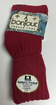 Vintage RETRO 80's NOS Women's Bonjour Cherry Red French Cuff Slouch Socks 9-11