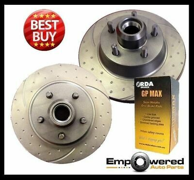 DIMPLED SLOTTED Ford Falcon UTE XF XG 1988-1995 FRONT DISC BRAKE ROTORS + PADS R