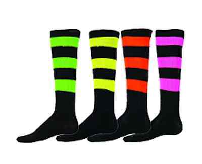 Softball Baseball Soccer Youth Socks Knee Length Big Stripe Neon Red Lion