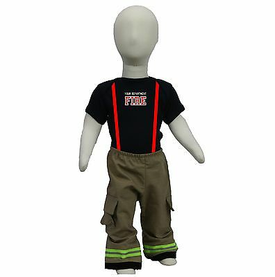 Personalized Firefighter Outfit For Baby Looks Just Like Turnout Bunker Gear