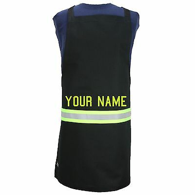 Custom personalized apron looks like turnout bunker gear BLACK with reflective