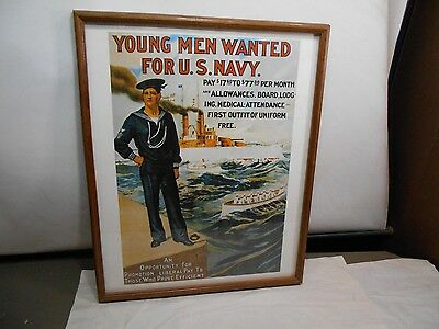 """Vintage / World War I Navy Recruiting Poster """"Young Men Wanted For U.S. Navy"""""""