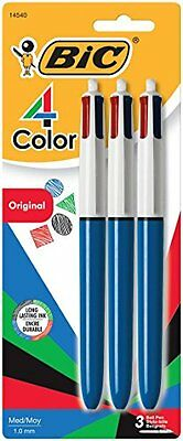 BIC 4-Color Ball Pen, Medium Point 1.0mm, Assorted Ink, 3-Count