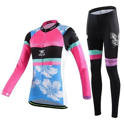 Women Cycling Long Sleeve Sport Suit Set Butterfly Pink Blue Jersey Pants