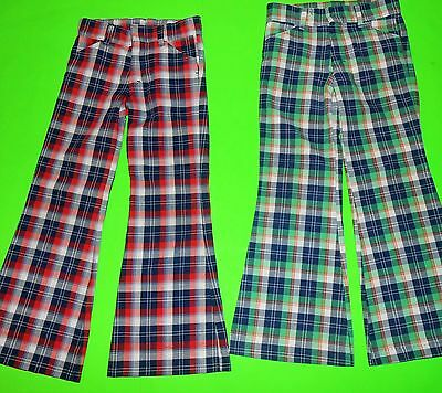 2 Prs Sz 7 Slim Vintage 1970's Growing Girl Red & Green Plaid Bell Bottom Pants