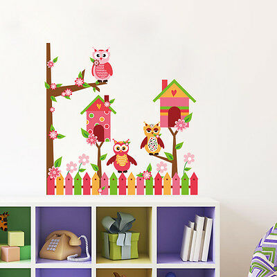 Owl Bird House Tree Removable Vinyl Wall Decal Sticker Kid Baby Room Home Decor