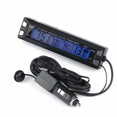 3in1 Car Thermometer Voltmeter Car Luminous Clock Car Temperature Voltage Alarm
