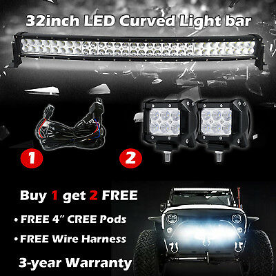 """32Inch 180W Combo Curved Led Work Light Bar Led Pods Jeep SUV Truck 4X4 ATV 30"""""""