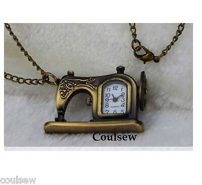 Vintage Sewing Machine Clock Antique Gold Jewellery Necklace Chain Watch time