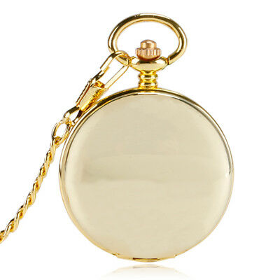 Classic Gold Smooth Mens Skeleton Mechanical Roman Numerals Pocket Watch Gift