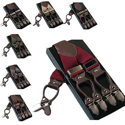 New British Leather Alloy 6 Clips Male Vintage Casual Suspenders Braces
