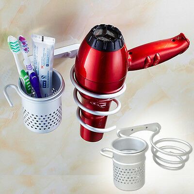 New Aluminum Wall Mount Blow Hair Dryer Rack Storage Holder Organizer + Comb Cup