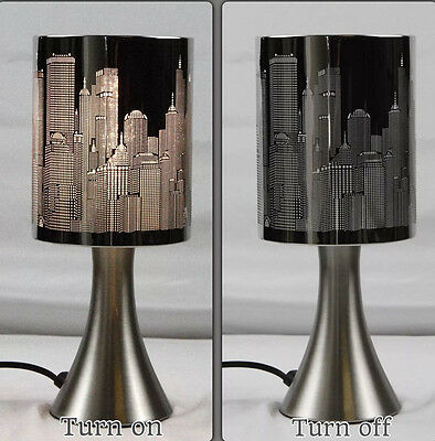 Modern New York City Skyline Etching Touch Lamps Bedside Table Cafe Desk Lamp