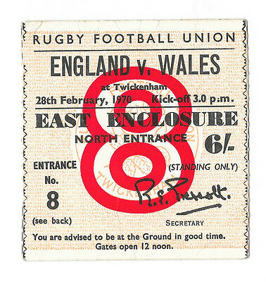 1970 - England v Wales, Five Nations Match Ticket.