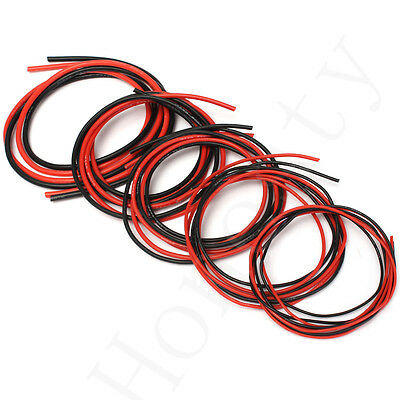 2M AWG Soft Silicone Flexible Wire Cable AWG12-20 (1 Meter Red + 1 Meter Black )