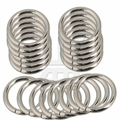 Metal O Ring Non Welded Nickel Plated Set of 20 Silver
