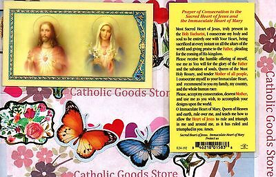 Consecration to the Sacred and Immaculate Hearts - Laminated Holy Card