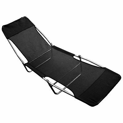 New & Boxed Black Folding Indoor Outdoor Garden Sun Lounger Recliner Chair