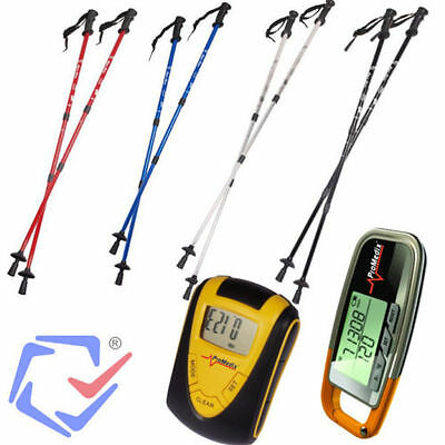 Nordic Walking Set Anti-Shock Telescopic Sticks Poles 4 Colours + Pedometer Fit