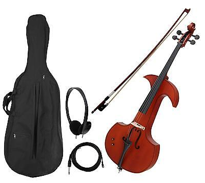 Silent Electric Cello 4 String Instrument Set Bow Bag Cable Headphones Rosewood