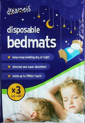 3 Pack Disposable Bedmats Bed Mat Baby Toddler Sheet Absorbent Protector