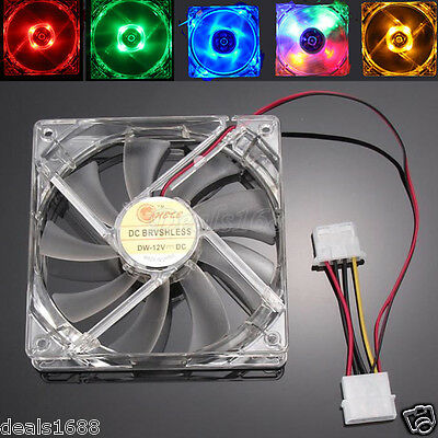 4-Pin 120mm PC Computer Case Fans Quad 4-LED Light 9-Blade CPU Cooling Fan Mode
