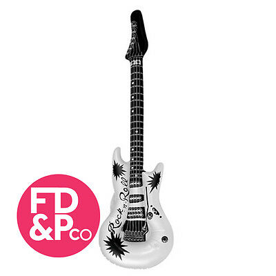 1x Inflatable Blow Up Guitar 106cm WHITE Party Fancy Dress Birthday Disco