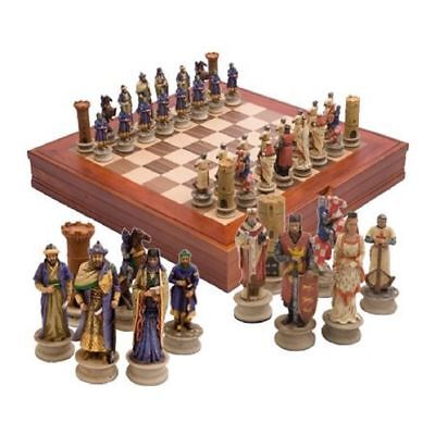 Hand Painted CRUSADERS V SALADIN CHESS SET by Vertini / Italy + wooden board New