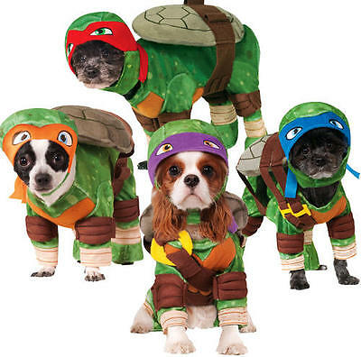 Pet Dog Teenage Mutant Ninja Turtles Fancy Dress Costume Halloween Outfit S-XL