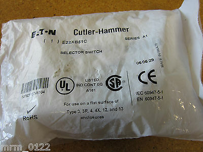 Cutler-Hammer E22XB51C SELECTOR SWITCH KNOB OPERATED NEW